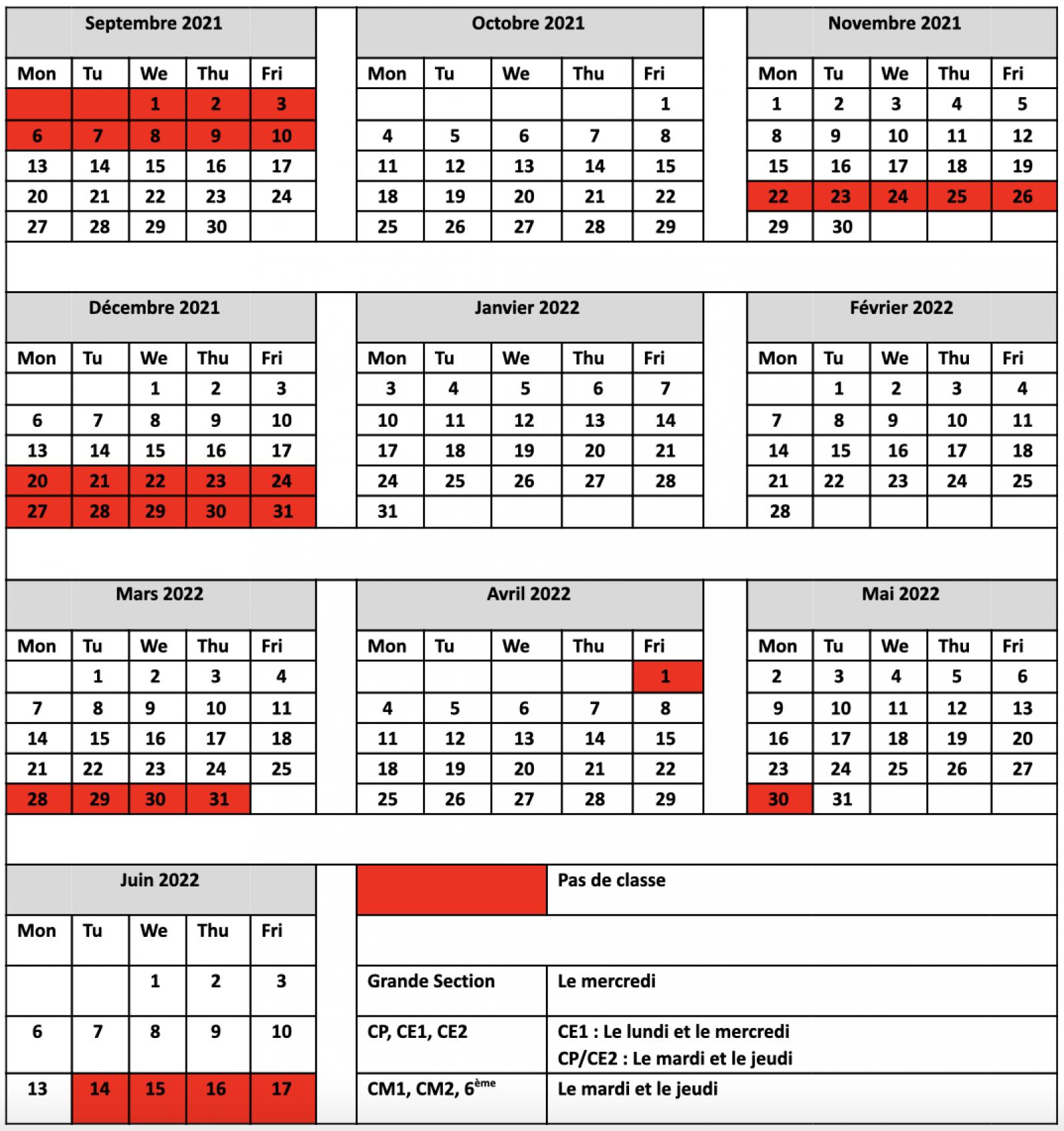 CNED Calendar